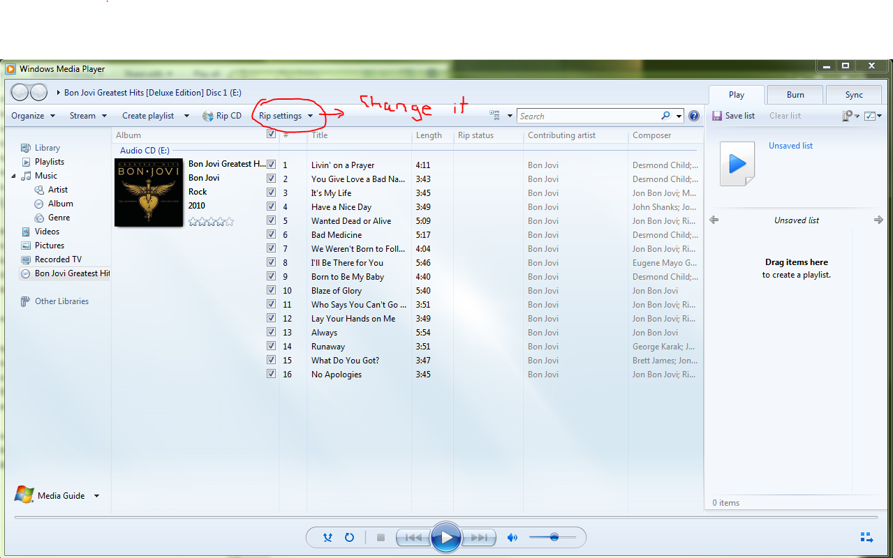 how to change quality on windows media player